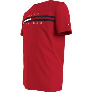 Tommy Hilfiger kids boys Flag insert tee shirt in de kleur rood
