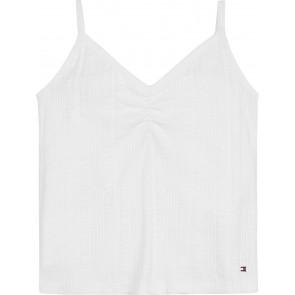 Tommy Hilfiger kids girls rib top met logo bandjes in de kleur wit