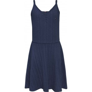 Tommy Hilfiger kids girls rib jurk met logo bandjes in de donkerblauw