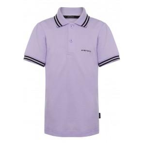 Airforce kids boys polo shirt met bies in de kleur lila paars