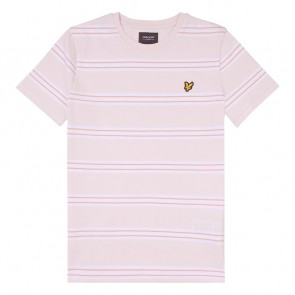 Lyle and Scott t-shirt met mini logoen strepen in de kleur zachtroze