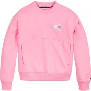 Tommy Hilfiger kids girls sweater palm poster print sweatshirt in de kleur neon roze