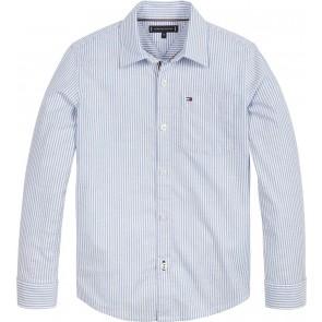 Tommy Hilfiger kids boys blouse ithaca stripe blouse in de kleur lichtblauw