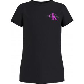 Calvin Klein kids girls chest monogram t-shirt in de kleur zwart