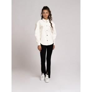 Nik en Nik girls Tayse blouse van imitatie leer in de kleur vintage white