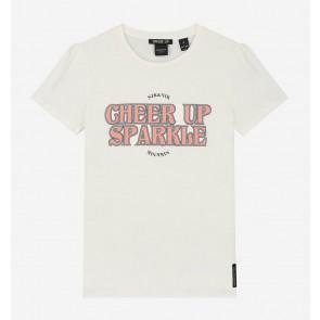 Nik en Nik girls Sparkle t-shirt cheer up in de kleur off white