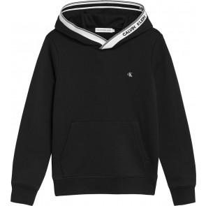 Calvin klein jeans kids intarsia hooded sweater in de kleur zwart