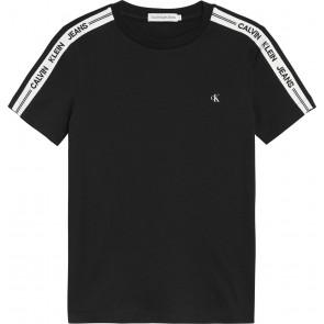 Calvin klein jeans kids intarsia sleeve fitted t-shirt in de kleur zwart