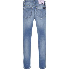 Calvin klein jeans kids skinny mid rise broek in de kleur jeansblauw