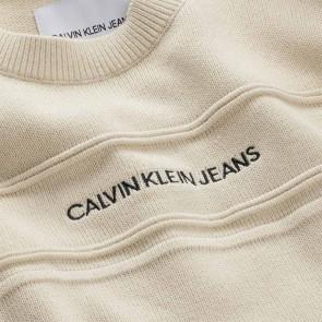 Calvin klein jeans kids fijngebreide trui met logo print in de kleur ecru