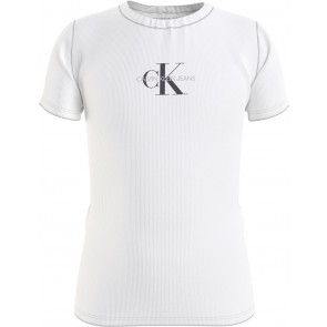 Calvin klein jeans kids micro monogram rib top in de kleur wit