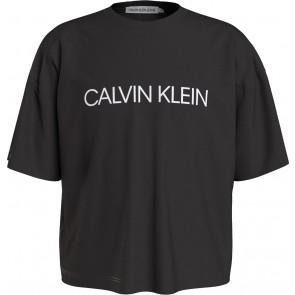 Calvin klein jeans kids institutional logo boxy t-shirt in de kleur zwart