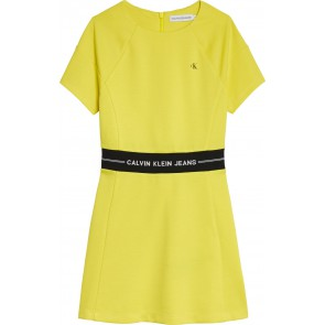 Calvin klein jeans girls intarsia logo waist punto dress in de kleur geel