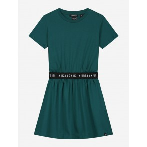 Nik en Nik girls Adelia dress jurk in de kleur deep water green groen