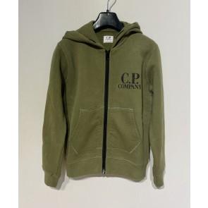 CP Company undersixteen kids sweatshirt hoodie vest met logo in de kleur army green