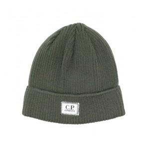 CP Company undersixteen kids knit cap extrafine merino wool in de kleur army green