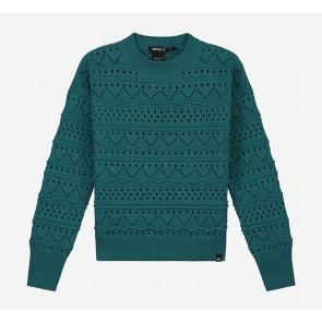 Nik en Nik girls Anka sweater gebreide trui in de kleur deep water green groen
