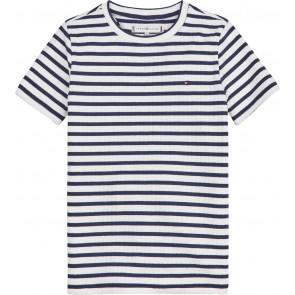 Tommy Hilfiger kids girls stripe rib knit top in de kleur blauw/wit