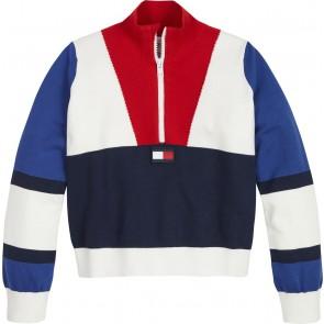 Tommy Hilfiger kids girls fijngebreide trui van katoen colorblock in de kleur rood/blauw