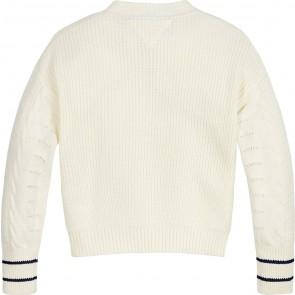 Tommy Hilfiger kids girls cable sweater gebreide trui in de kleur creme