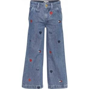 Tommy Hilfiger kids girls wide leg pants jeans in de kleur jeansblauw
