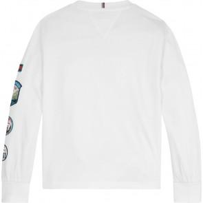 Tommy Hilfiger kids girls expedition badge tee shirt longsleeve in de kleur wit