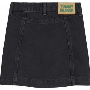 Tommy Hilfiger kids girls denim rok a-lijn skirt in de kleur zwart