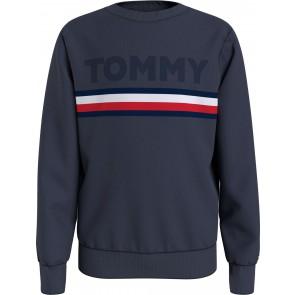 Tommy Hilfiger kids boys embossed sweatshirt sweater in de kleur donkerblauw