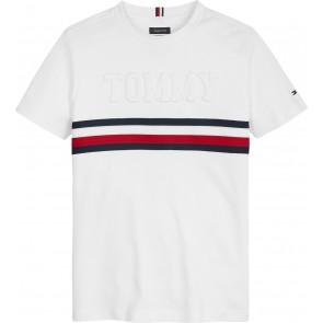 Tommy Hilfiger kids boys embossed t-shirt met logo in de kleur wit