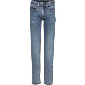 Tommy Hilfiger kids boys spencer slim tapered destructed broek in de kleur jeansblauw