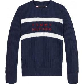 Tommy Hilfiger kids boys essential structure sweater trui in de kleur donkerblauw