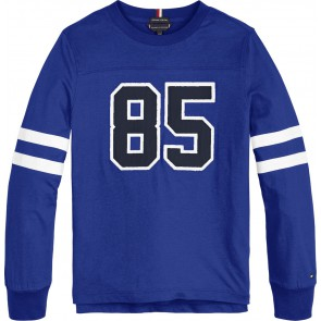 Tommy Hilfiger kids boys varsity tee shirt longsleeve in de kleur kobalt blauw