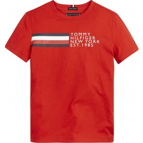Tommy Hilfiger kids boys global stripe graphic t-shirt in de kleur rood