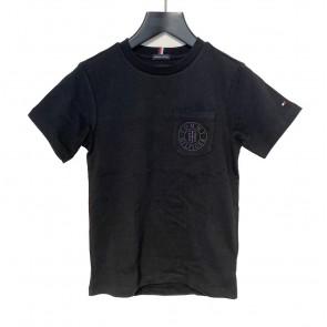 Tommy Hilfiger kids boys reflective print tee shirt in de kleur zwart