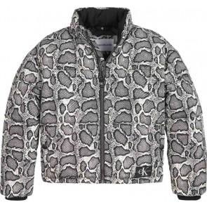 Calvin Klein kids girls winterjas reptile skin puffer jacket in de kleur zwart/wit