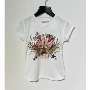 Zadig en Voltaire kids girls rock t-shirt met gitaar in de kleur off white