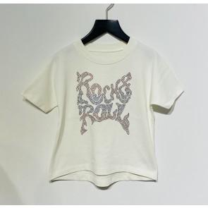 Zadig en Voltaire kids girls t-shirt met glitter steentjes in de kleur creme