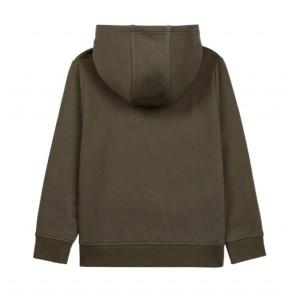 Hugo Boss kids boys hoodie sweater trui met logo print in de kleur army green