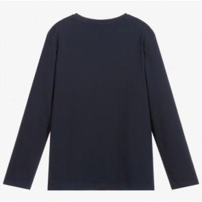 Hugo Boss kids boys longsleeve shirt met logo print in de kleur donkerblauw