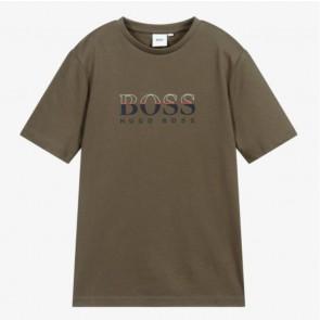 Hugo Boss kids boys t-shirt met logo print in de kleur army green