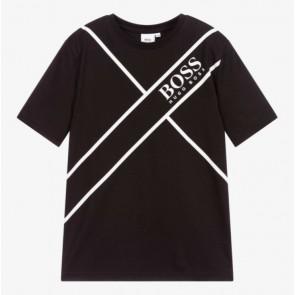 Hugo Boss kids boys t-shirt met logo print in de kleur zwart