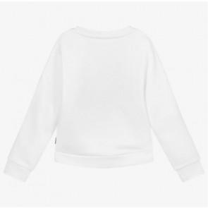 Hugo Boss kids girls sweater trui met letter print in de kleur wit