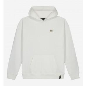 Nik en Nik kids boys motion hoodie sweater trui in de kleur vintage white wit