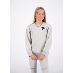 Reinders girls sweater trui met headlogo in de kleur grijs