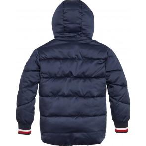 Tommy Hilfiger kids girls winterjas essential satin puffer in de kleur donkerblauw