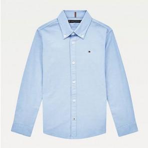 Tommy Hilfiger kids boys stretch oxford shirt in de kleur calm blue lichtblauw