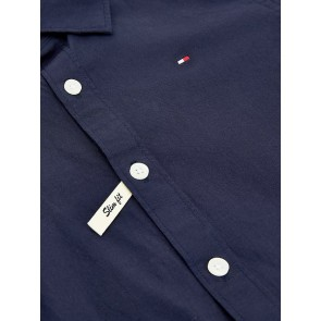 Tommy Hilfiger kids boys solid stretch poplin shirt blouse in de kleur donkerblauw