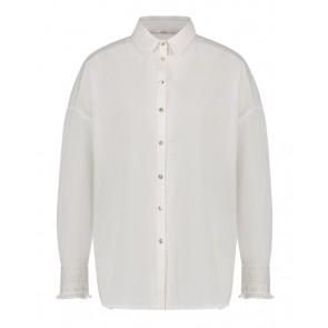 AI&KO girls lange witte blouse met broderie mouw inde kleur wit