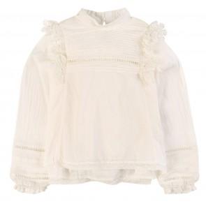 Zadig en Voltaire kids girls blouse met broderie en kant in de kleur off white