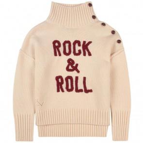 Zadig en Voltaire kids girls gebreide trui met trui rock & roll in de kleur ecru